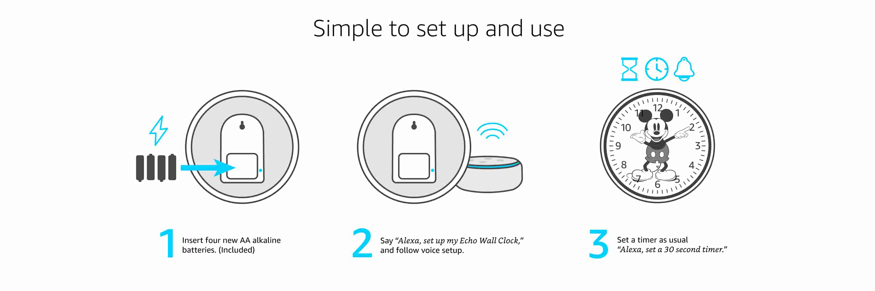 Echo Wall Clock is SImple to set up and use. 1. Inserts four new AA alkaline batteries, included. 2. Say Alexa, setup my Echo Wall clock, and follow voice setup. 3. Mount clock on wall and set a timer as usual.