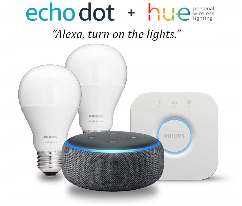 eb3b15dfb91 Amazon.com  Echo Dot (3rd Gen) - Charcoal with Philips Hue White ...