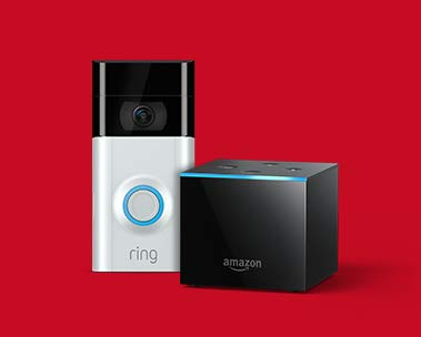 Image of an Amazon Fire TV Cube and Ring Video Doorbell 2