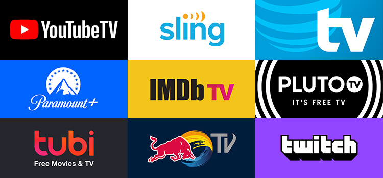 Grid of apps (NBA, Sling TV, AT&T TV, Paramount+, IMDB TV, Pluto TV, Tubi, RedBull TV, Twitch))