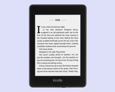 Kindle Paperwhite atop a purple background
