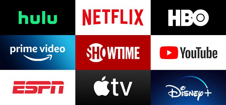 Grid of apps (Hulu, Netflix, HBO NOW, Prime Video, SHOWTIME, YouTube, ESPN, Apple TV, Disney)