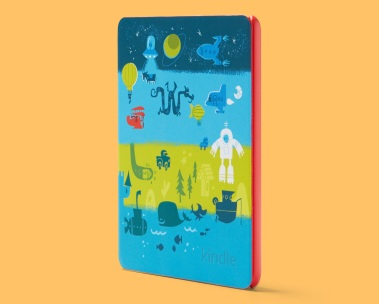 Kindle atop a yellow background