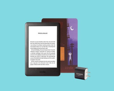 Kindle with printed cover and power adapter. $45 off Kindle bundles.