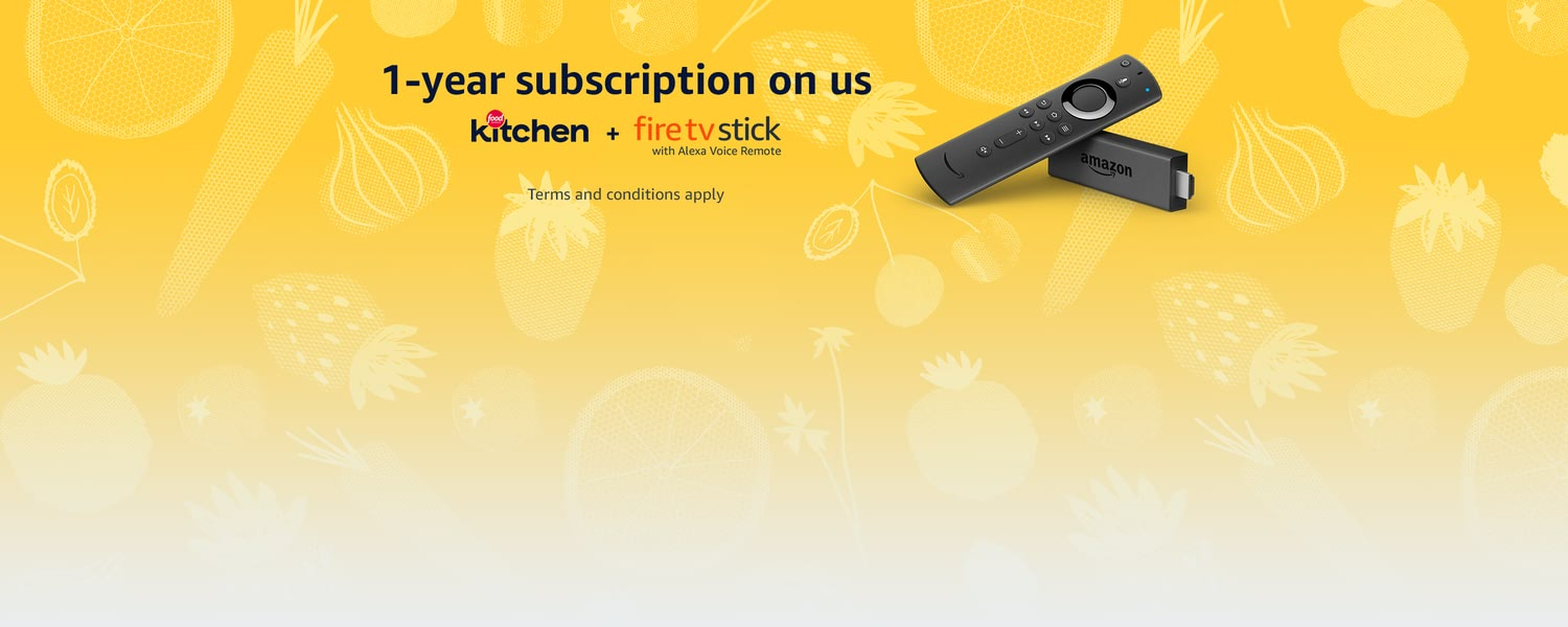 1-year subscription on us. Food Network Kitchen + Fire TV Stick with Alexa Voice Remote. Terms and conditions apply.
