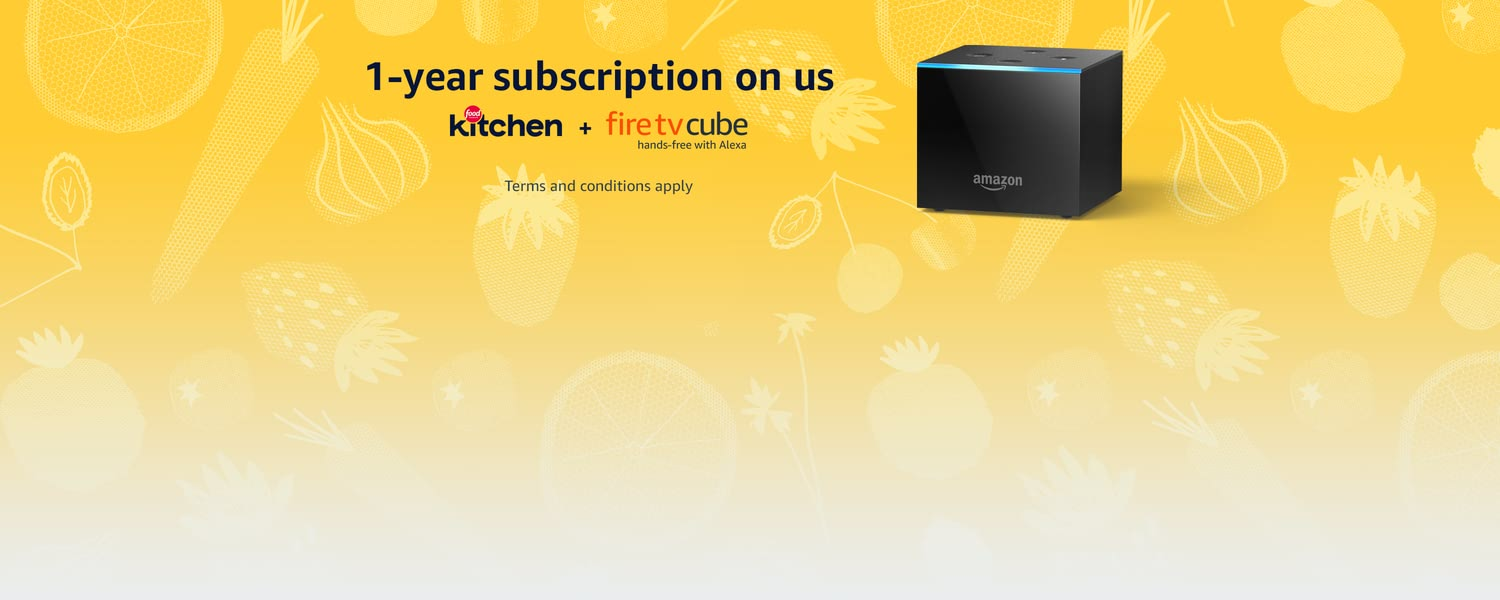 1-year subscription on us. Food Network Kitchen + Fire TV Cube hands-free with Alexa. Terms and conditions apply.