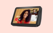 Echo Show 8 on pink background. On sale for $64.99 was $129.99.