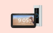 Ring Video Doorbell Pro and Echo Show 5 on pink background. On sale for $169.99 was $339.98.