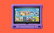 Fire HD 8 Kids Edition Tablet on orange background. On sale for $79.99 was $139.99.