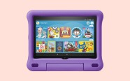 Fire HD 8 Kids Edition Tablet on pink background. On sale for $79.99 was $139.99.
