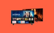 Fire TV Edition TV on orange background. On sale for $99.99 was $119.99.