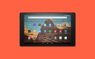 Fire HD10 on orange background. On sale for $79.99 was $149.99.