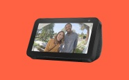 Echo Show 5 on orange background. On sale for $44.99 was $89.99.