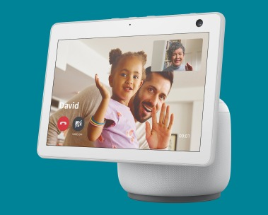 New Echo Show 10 with motion. An Echo Show 10 with a video call screen