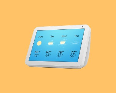 Echo Show 8 with a weather forecast screen