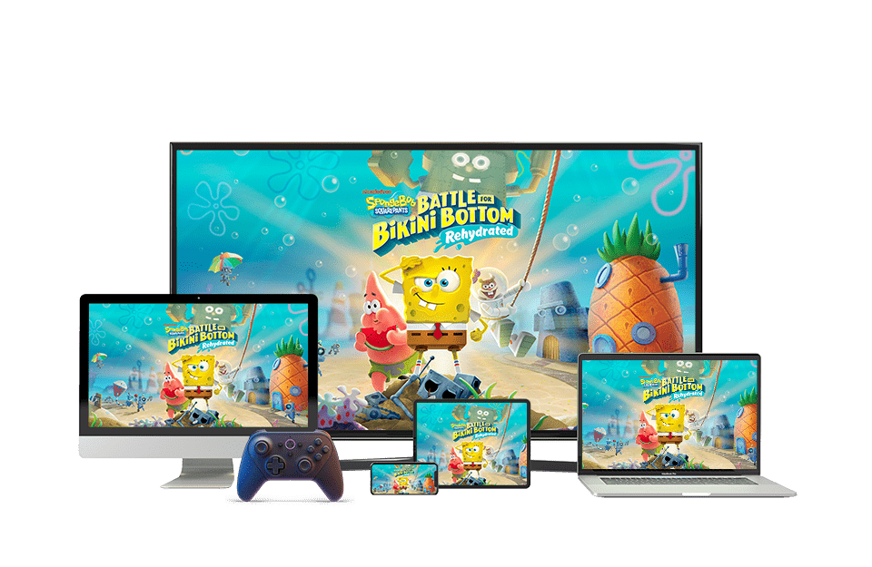 An TV, PC, phone, tablet and laptop showing a game called Spongebob