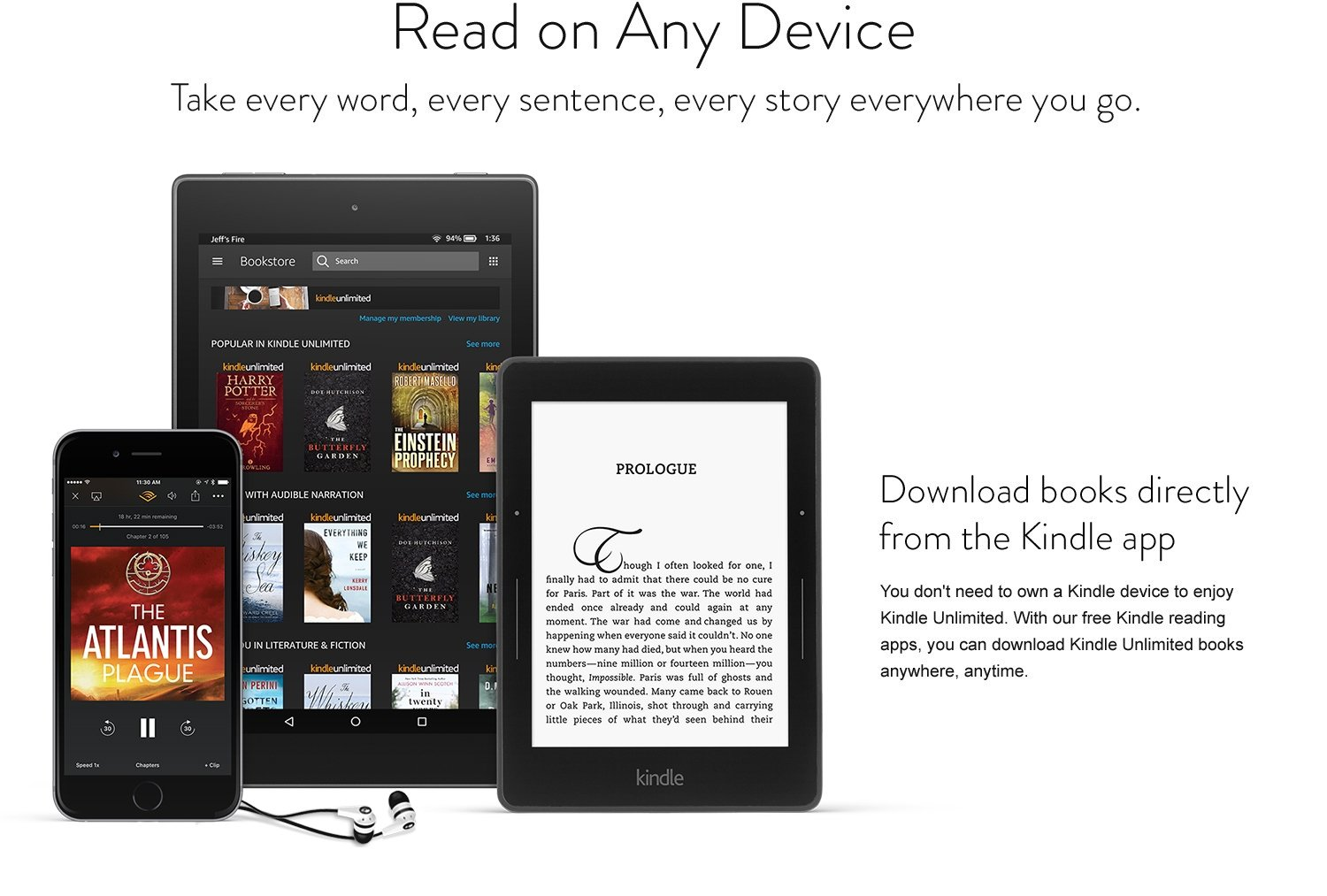 Read on any device: Take every word, every sentence, every story everywhere you go. Download books directly from the Kindle app. You don't need to own a Kindle device to enjoy Kindle Unlimited. With our free Kindle reading apps, you can download Kindle Unlimited books anywhere, anytime.
