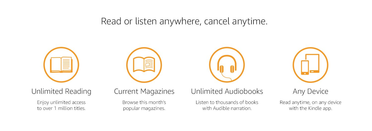 Read or listen anywhere, cancel anytime. Unlimited Reading: Enjoy unlimited access to over 1 million titles. Current magazines: Browse this month's popular magazines. Unlimited Audiobooks: Listen to thousand of books with Audible narration. Any Device: Read anytime, on any device, with the Kindle App.