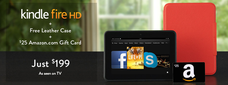 $144 :16GB Kindle Fire HD 7″ Tablet + Standing Leather Case + $25 Amazon Gift Card