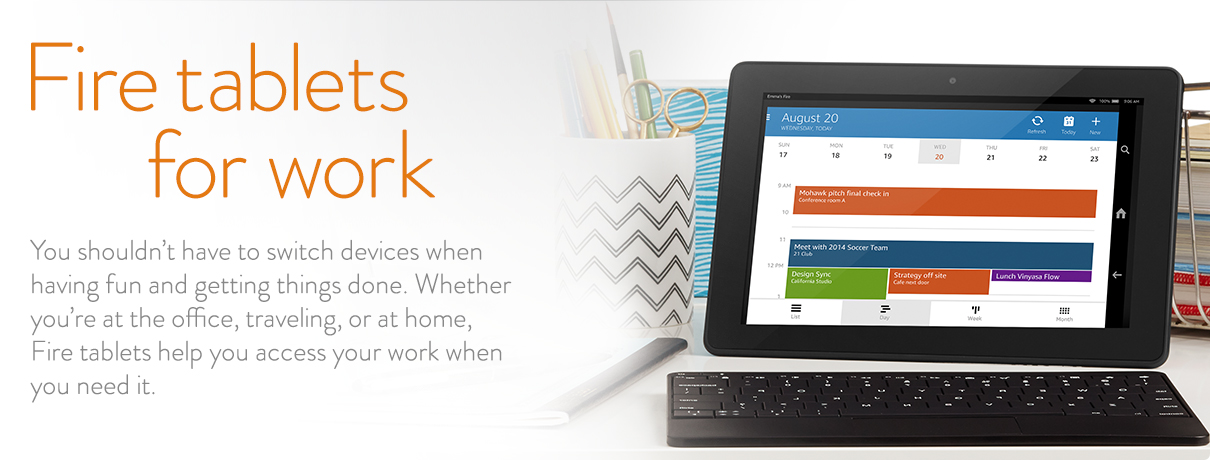 You shouldn't have to switch devices when having fun and getting things done. Whether you're at the office, traveling, or at home, Kindle Fire helps you access your work when you need it.