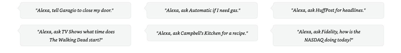 Echo- Alexa has skills utterances