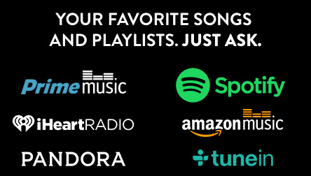 Your favorite songs and playlists. Just ask.