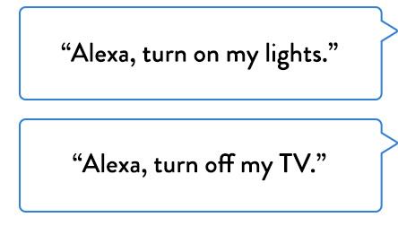 """Alexa, turn on my lights.""   ""Alexa, turn off my TV."""