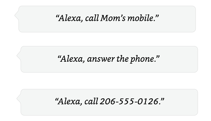 Alexa, call Mom.