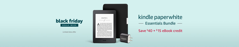 Black Friday Deals - Save $40 on Kindle Paperwhite Essentials Bundle + $15 eBook credit