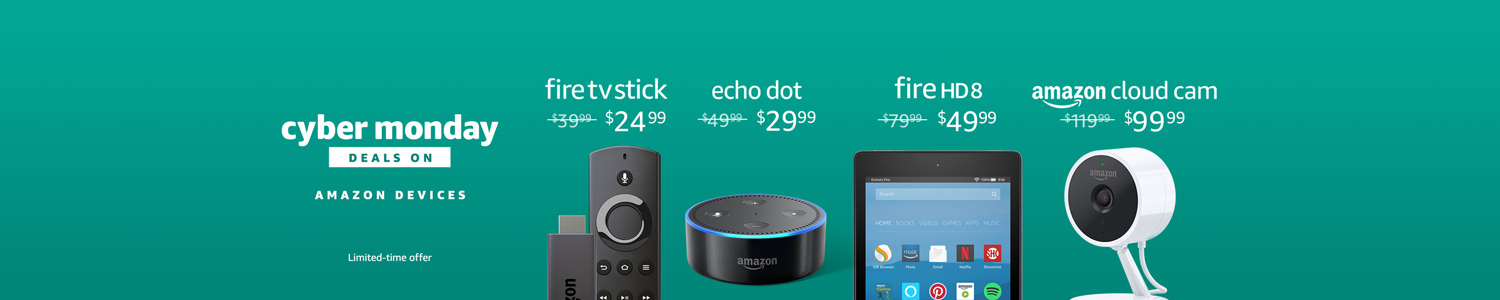 Cyber Monday Deals on Amazon Devices. Limited-time offer.