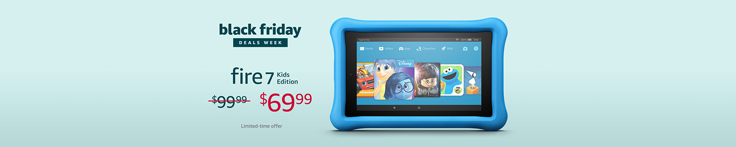 Black Friday Deals Week: Save $30 on All-New Fire 7 Kids Edition. Limited-time offer.