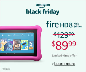 Black Friday Deals - Save $40 on Fire HD 8 Kids Edition - was $129.99 - now $89.99. Limited-time offer