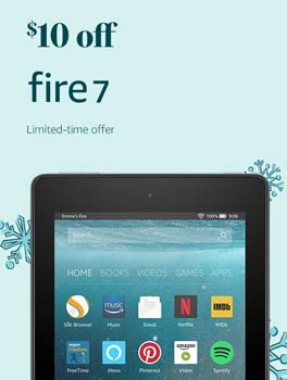 Save $10 on All-New Fire 7. Limited-time offer.