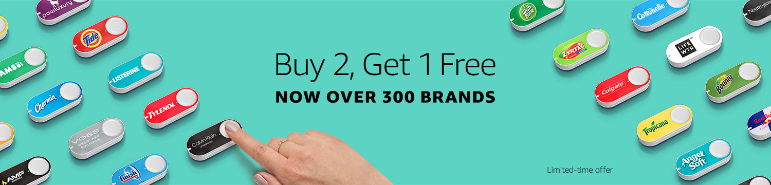 Limited-time offer: Buy 2 Amazon Dash Buttons, Get 1 Free. Choose from over 300 brands.