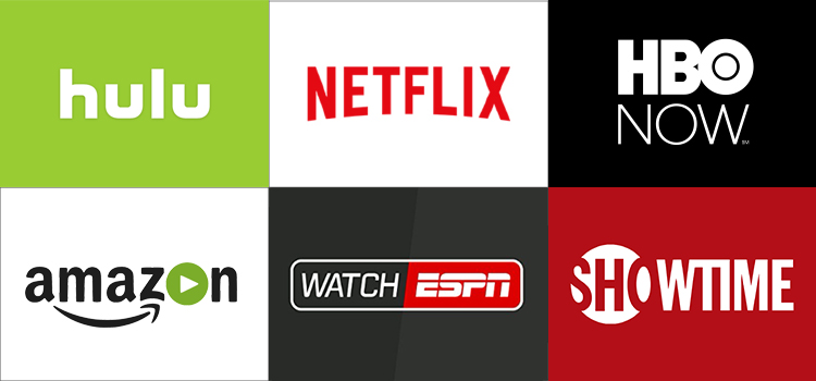 Grid of apps (Hulu, NEtflix, HBO NOW, Amazon Video, WatchESPN, Showtime)