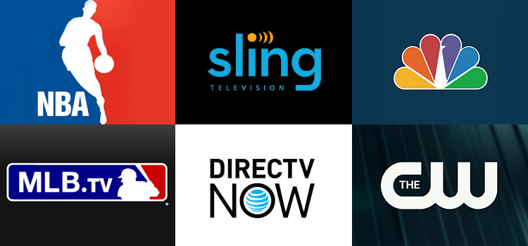 Grid of apps (NBA, Sling TV, NBC News, MLB.TV, DIRECTVNOW, The CW)