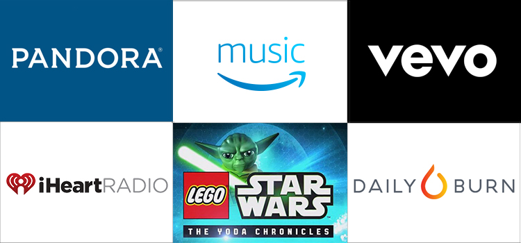 Grid of apps (Pandora, Prime MUsic, Vevo, iHeartRadio, Lego Star Wars, Daily Burn)