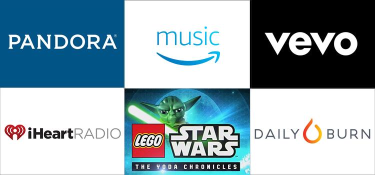 Grid of apps (Pandora, Prime MUsic, Vevo, iHeartRadio, Lego Star Wars, Daily Burn)