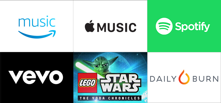 Grid of apps (Amazon Music, Apple Music, Spotify, VEVO, Lego Star Wars, Daily Burn)