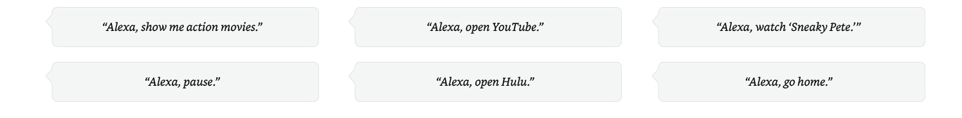 Examples of Alexa commands.