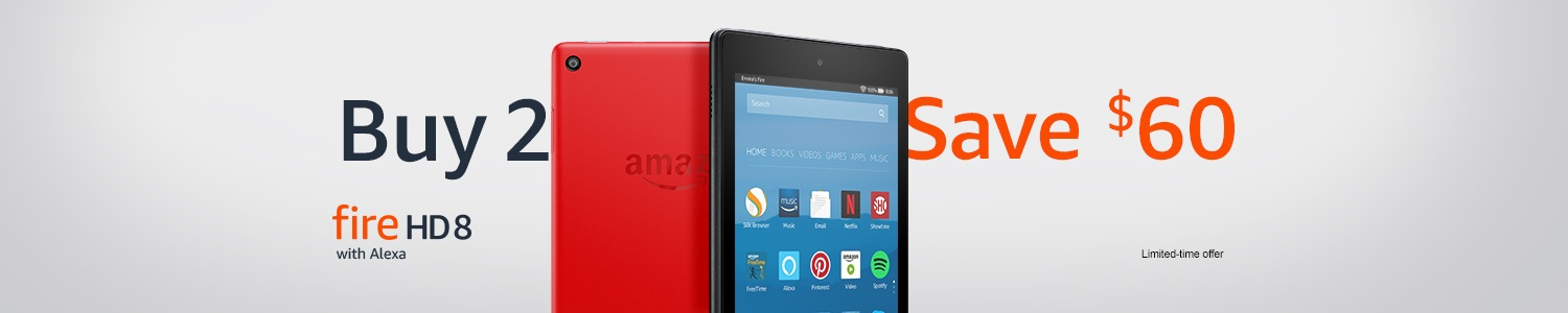 Buy 2 Fire HD 8 tablets, save $60