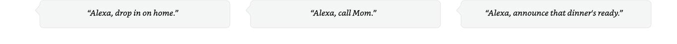 Alexa, drop in on home. | Alexa, call Mom. | Alexa, announce that dinner's ready.