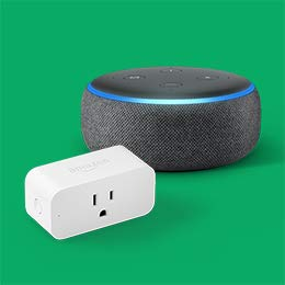 Image of an Echo Dot and Amazon Smart Plug.