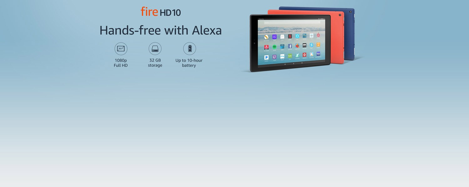 Fire HD 10 | Hands-free with Alexa | 1080p Full HD | 32 GB storage | Up to 10-hour batter