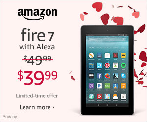 Valentine's Day Deals - Save $10 on Fire 7 - was $49.99 - now $39.99. Limited-time offer