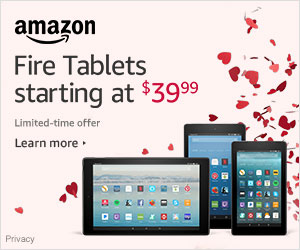 Valentine's Day Deals - Save up to $30 on Fire tablets - starting at $39.99. Limited-time offer
