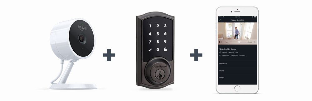 includes security camera, smart lock, and app