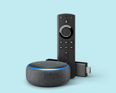Image of an Amazon Fire TV Stick 4K and Echo Dot