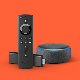 Image of a Fire TV Stick and Echo Dot.