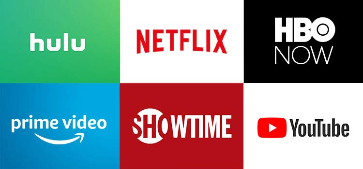 Grid of apps (Hulu, Netflix, HBO NOW, Prime Video, SHOWTIME, YouTube)
